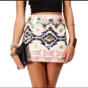 Express Aztec Print Sequined Skirt